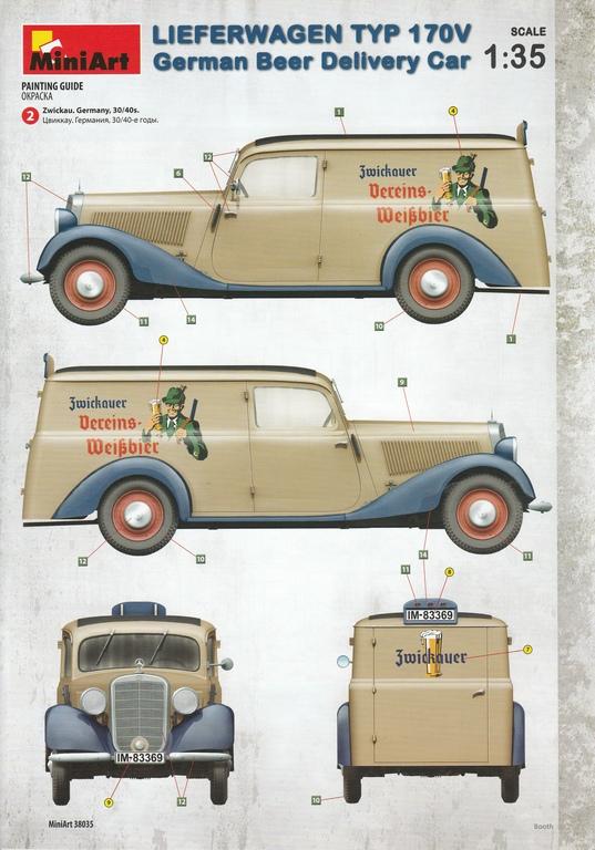 MiniArt-38035-Lieferwagen-Typ-170V-Beer-Delivery-45 Lieferwagen Typ 170V German Beer Delivery Car in 1:35 von MiniArt #38035