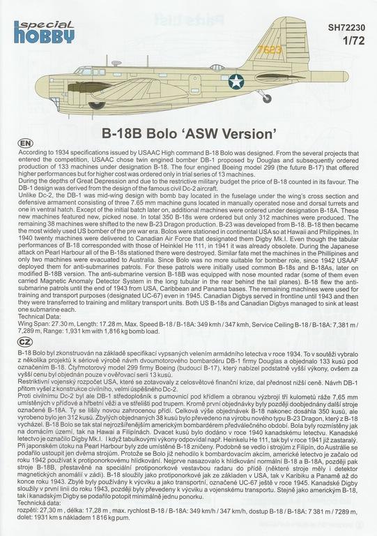 """Special-Hobby-SH-72230-Douglas-B-18-Bolo-ASW-37 Douglas B-18B Bolo """"ASW Version"""" in 1:72 von Special Hobby #SH72230"""
