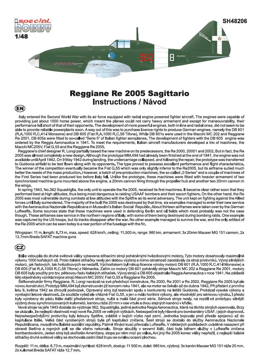 SpecialHobby-SH-48206-Reggiane-Re-2005-Bauanleitung-1 Reggiane Re 2005 Sagittario in 1:48 von Special Hobby # SH 48206