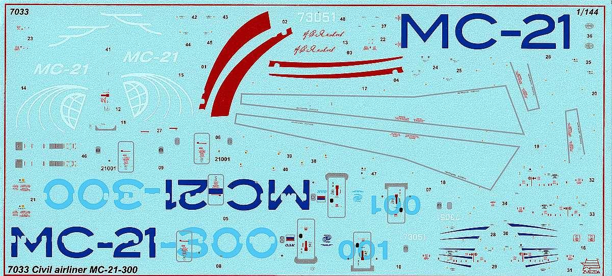 Zvezda-7033-MC-21-300-28 Verkehrsflugzeug MS-21-300 in 1:144 von Zvezda #7033