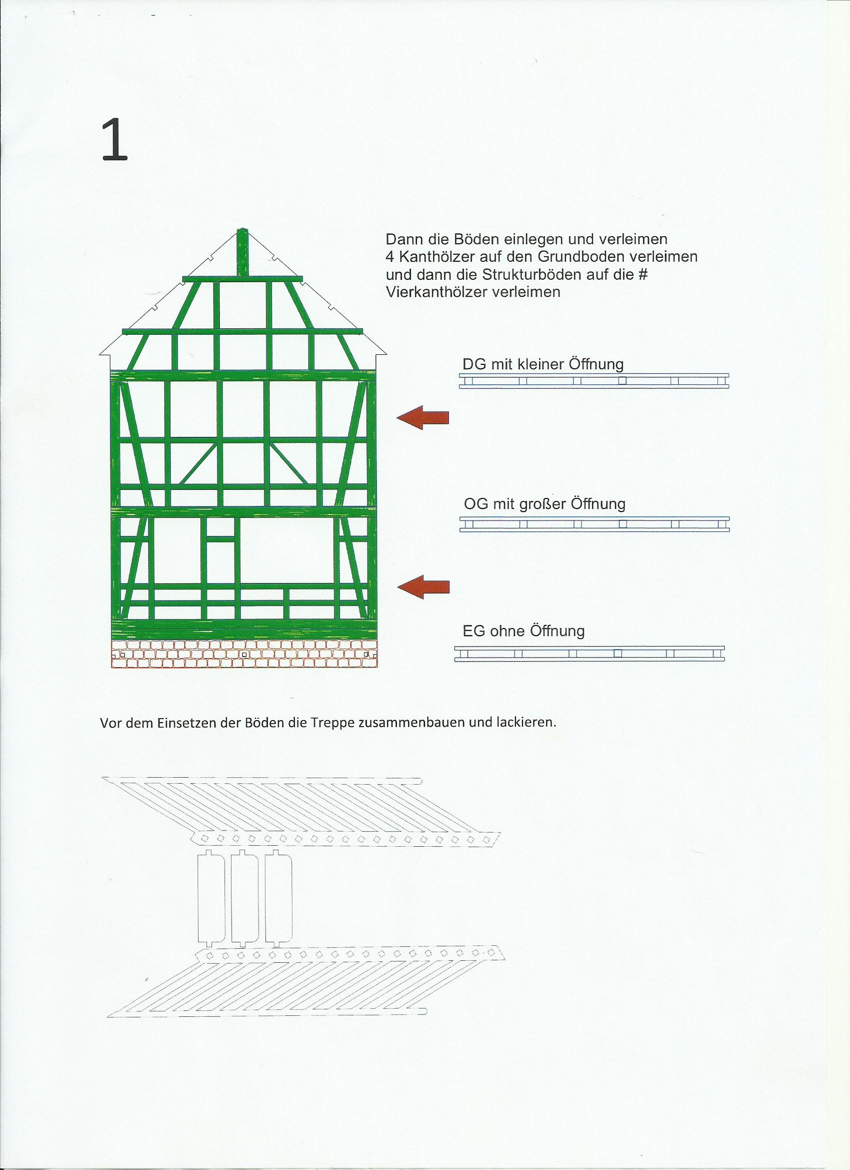 1 Fachwerkhaus mit Holzschuppen - Lasercut Modellbaushop 1:35