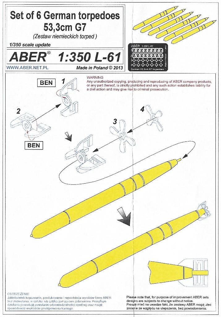Anleitung-1 Set of 6 German Torpedos 53,5cm G7 1:350 Aber (#L-61)