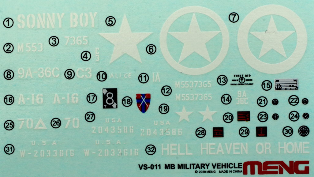 Decals-2 MB Military Vehicle 1:35 Meng (#VS-011)