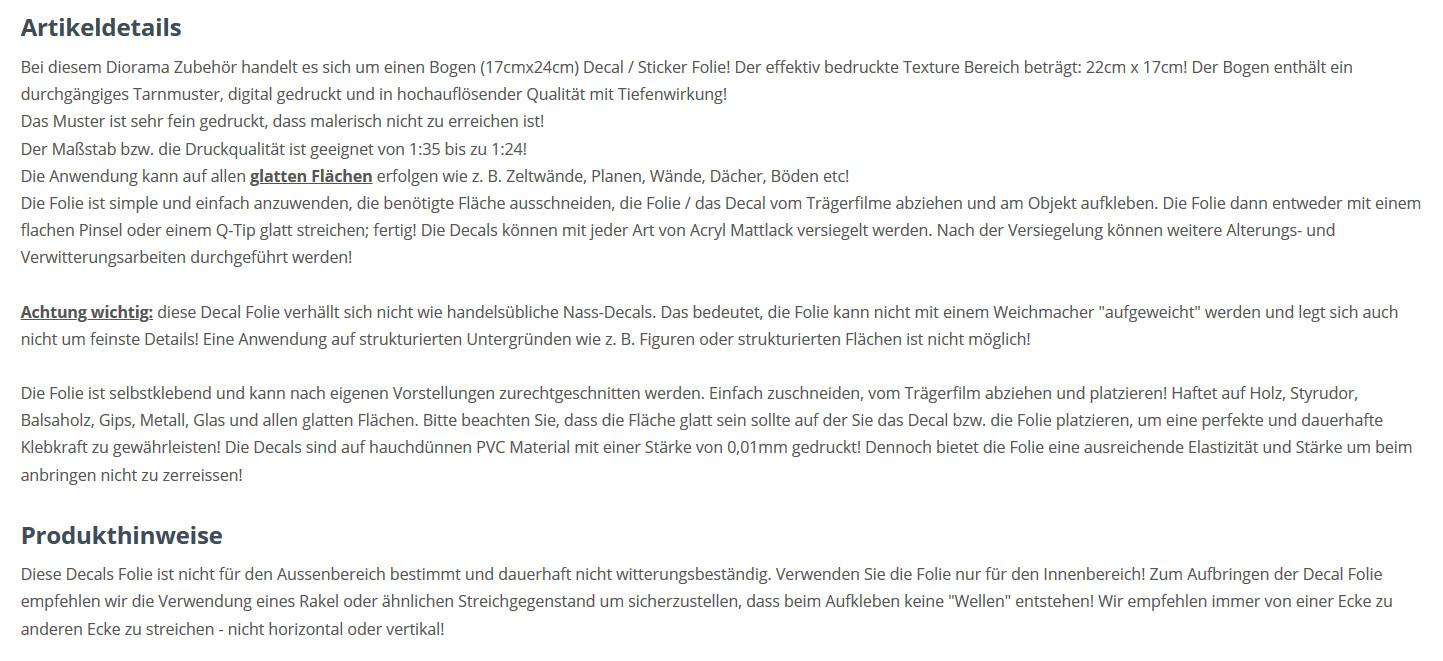 Decals Bundeswehr Flecktarn Texture Decals 1:35 MAIM (#MAIM35621)