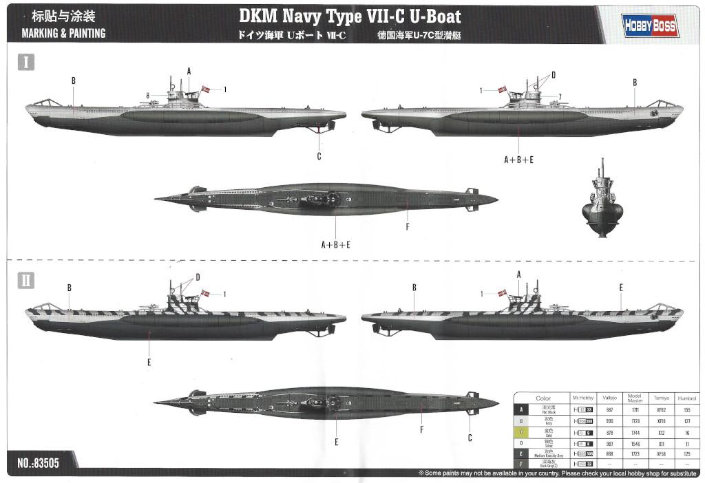 Markierungsvarianten DKM Navy Type VII-C U-Boat Hobby Boss 1:350 (#83505)