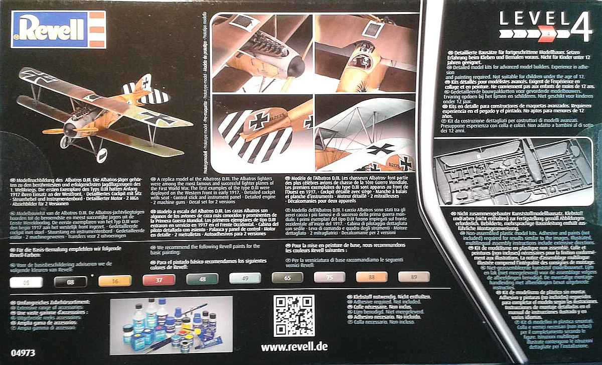 Revell-04973-Albatros-D-2 Albatros D.III in 1:48 von Revell # 04973