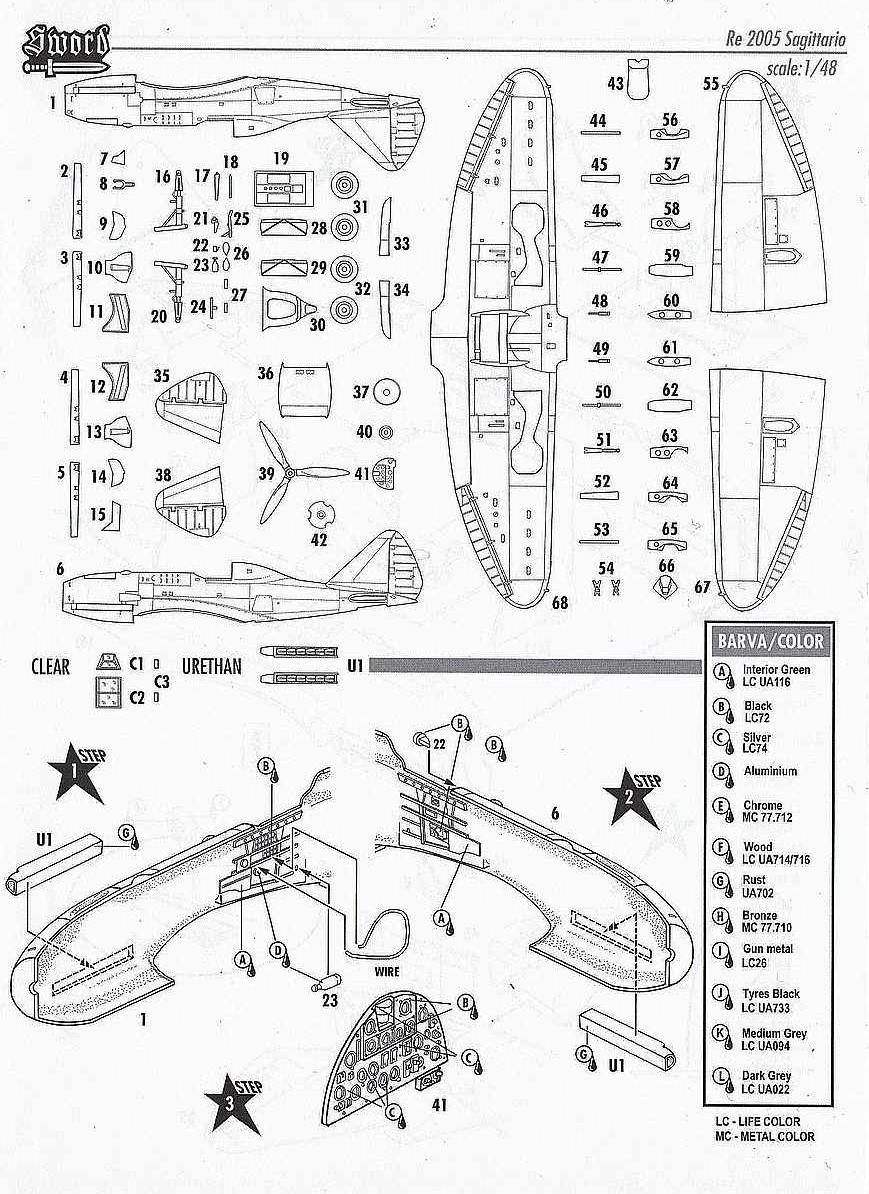 SWORD-48010-Reggiane-Re-2005-Sagittario-Bauanleitung2 Reggiane Re 2005 Sagittario in 1:48 von SWORD #48010