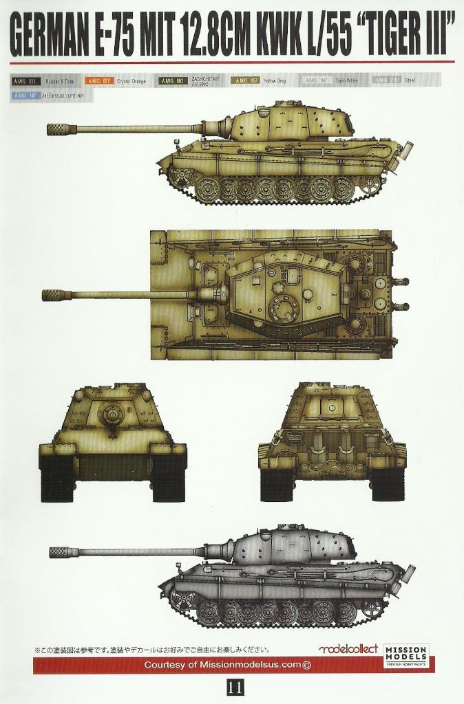 "Anleitung11 Modelcollect UA35012 German Heavy Tank E-75 mit 12,8cm L/55 ""Tiger III"" 1:35"
