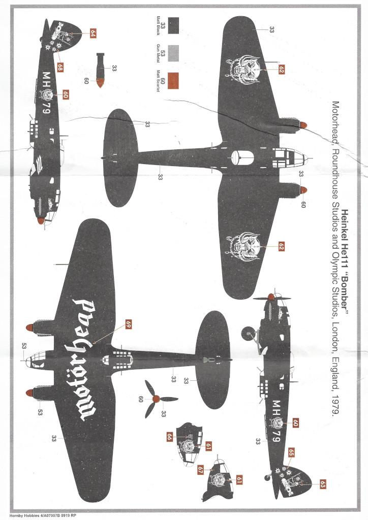 """Anleitung12-1 Heinkel He111 H-6 Motörhead """"Bomber"""" Special 1:72 Airfix (#A07007B)"""