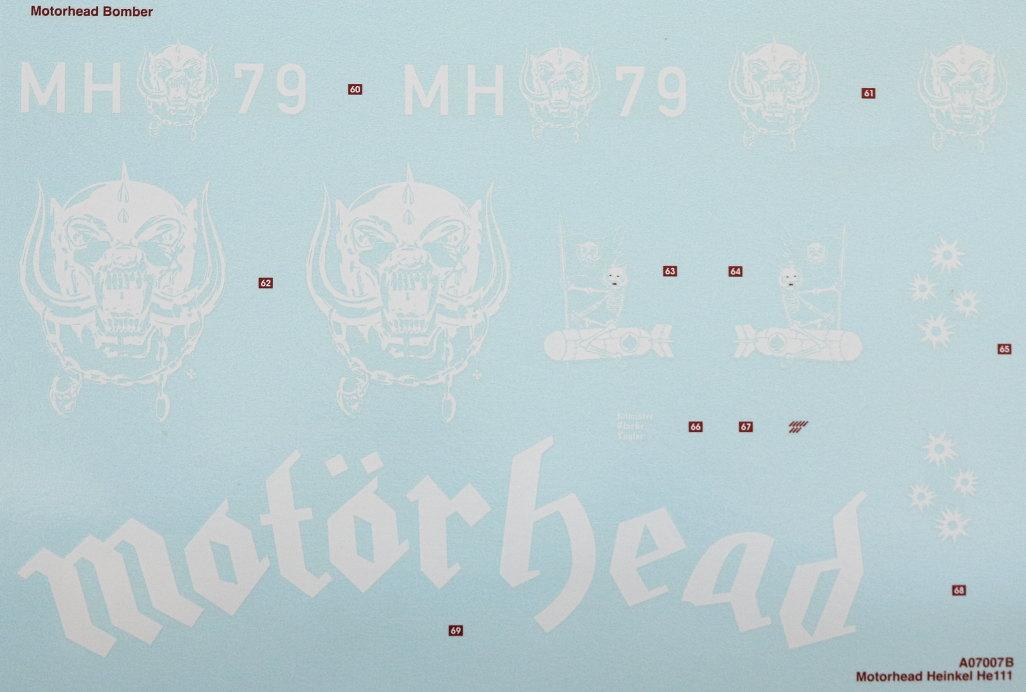 """Decals-1 Heinkel He111 H-6 Motörhead """"Bomber"""" Special 1:72 Airfix (#A07007B)"""