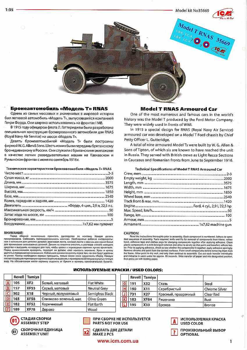 ICM-35669-Model-T-RNAS-Armoured-Car-27 Ford Model T RNAS Armoured Car in 1:35 von ICM # 35669