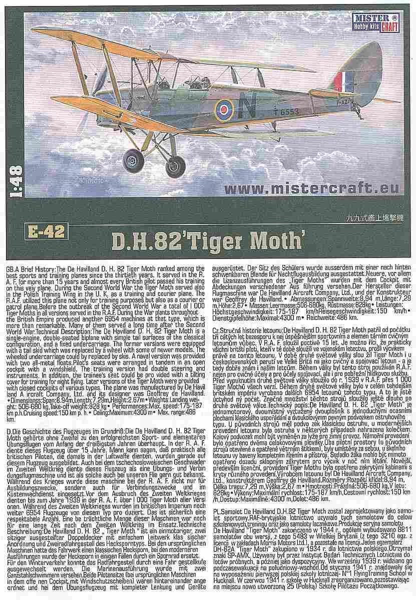 MisterCraft-E-42-DH-82-Tiger-Moth-5 DH 82 Tiger Moth in 1:48 von MisterCraft  # E-42