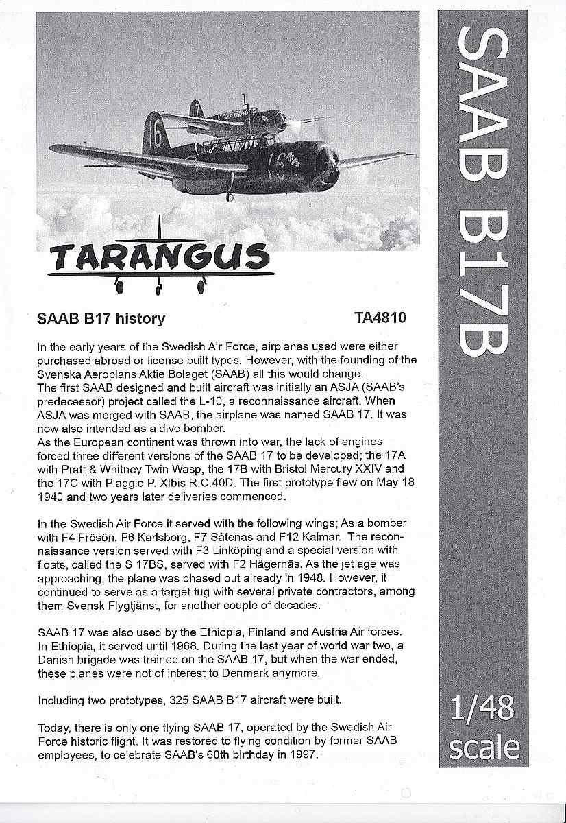 Tarangus-TA-4810-SAAB-B-17B-Bauanleitung1 SAAB B-17B in 1:48 von Tarangus #TA 4810