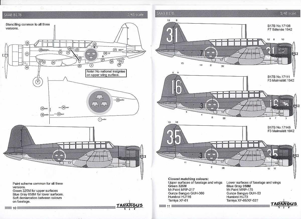 Tarangus-TA-4810-SAAB-B-17B-Bemalungsanleitung SAAB B-17B in 1:48 von Tarangus #TA 4810
