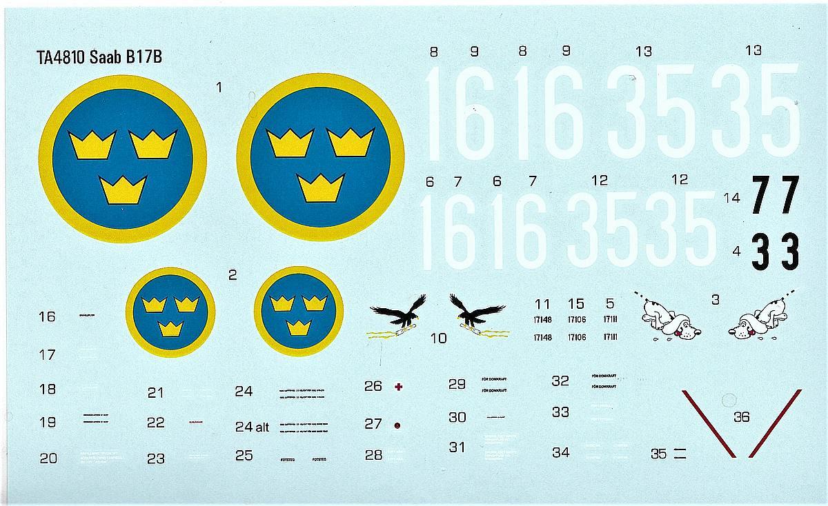 Tarangus-TA-4810-SAAB-B-17B-Decals SAAB B-17B in 1:48 von Tarangus #TA 4810