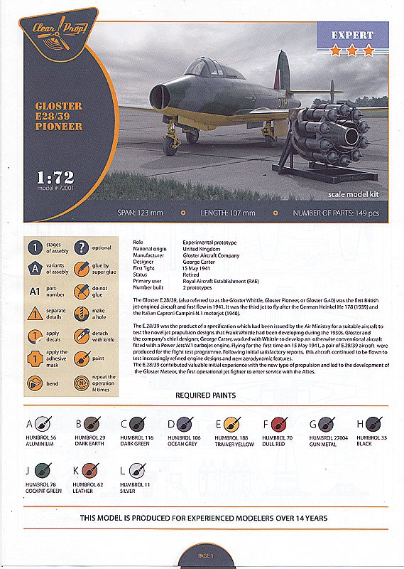 Clear-Prop-CP-72001-Gloster-E-39-Pioneer-Bauanleitung1 Gloster E38/39 Pioneer in 1:72 von Clear Prop #CP 72001