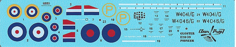 Clear-Prop-CP-72001-Gloster-E-39-Pioneer-Decals Gloster E38/39 Pioneer in 1:72 von Clear Prop #CP 72001
