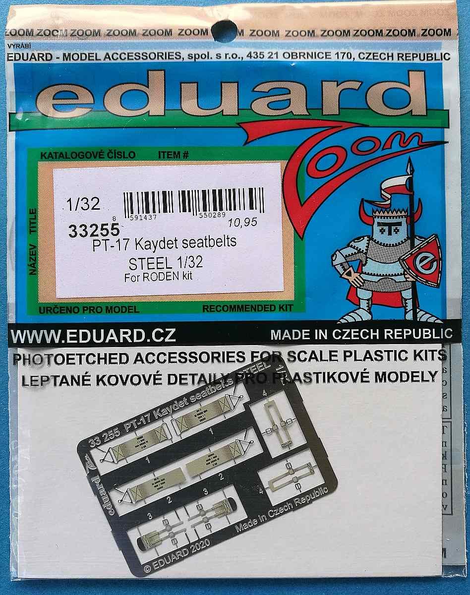 Eduard-33255-PT-17-Kaydet-seatbelts-STEEL-1 Eduard Zurüstsets für die PT-17 von Roden in 1:32