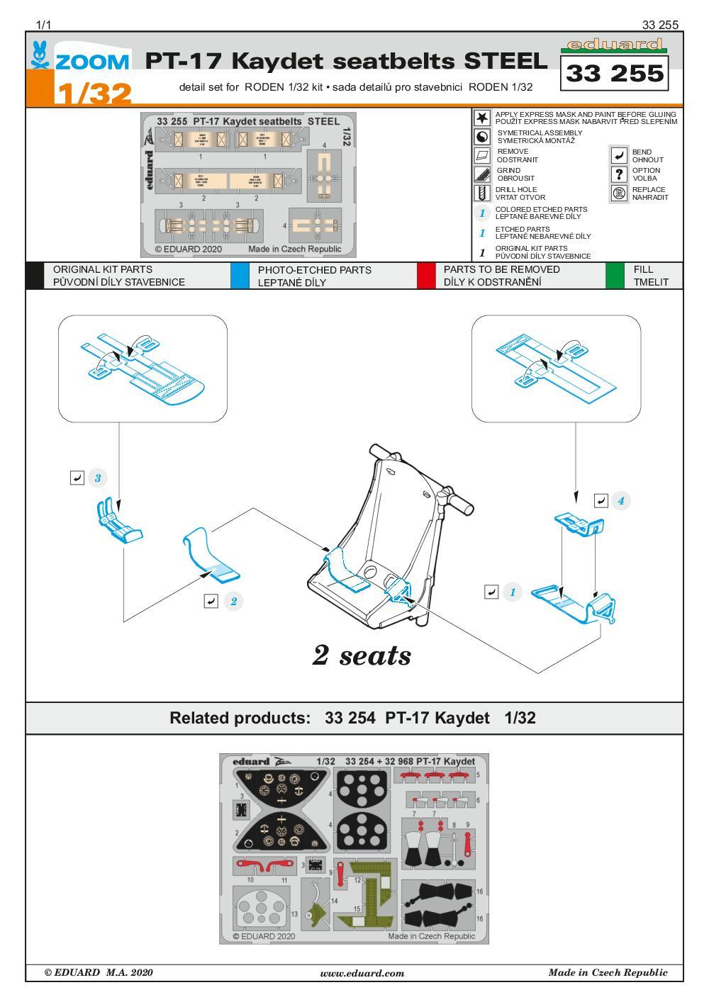 Eduard-33255-PT-17-Kaydet-seatbelts-STEEL-2 Eduard Zurüstsets für die PT-17 von Roden in 1:32