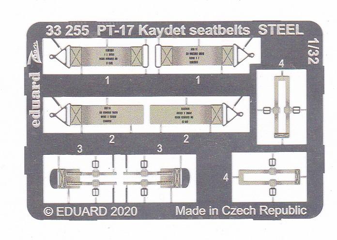 Eduard-33255-PT-17-Kaydet-seatbelts-STEEL Eduard Zurüstsets für die PT-17 von Roden in 1:32