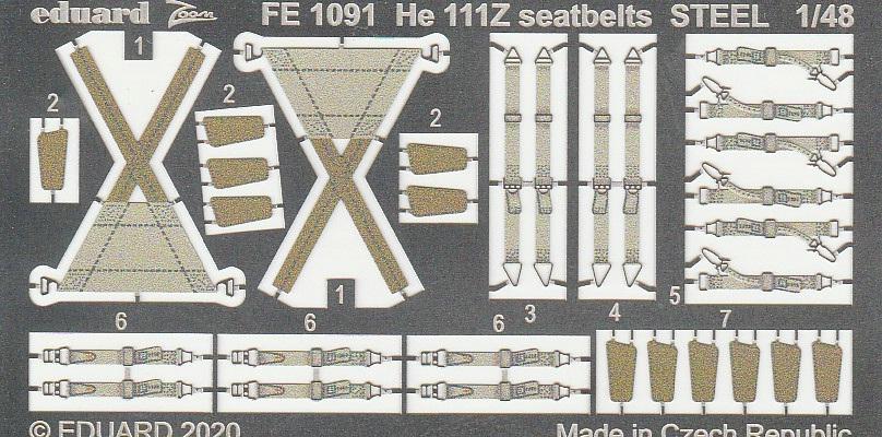 """Eduard-49190-He-111-Zwilling-3 Ergänzungssets von Eduard für ICM's He 111 """"Zwilling"""" in 1:48"""