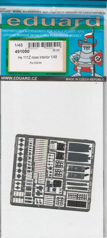 """Eduard-49190-He-111-Zwilling-6 Ergänzungssets von Eduard für ICM's He 111 """"Zwilling"""" in 1:48"""