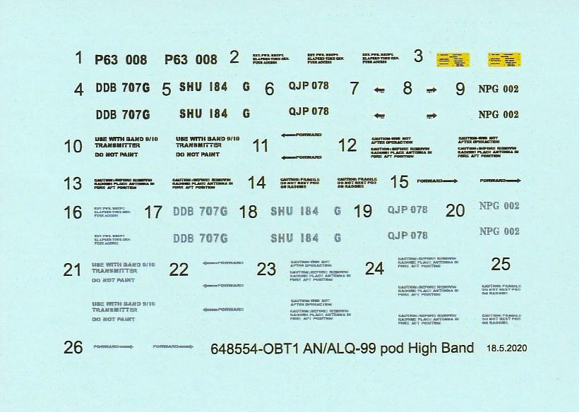 Eduard-648552-und-648554-AN-ALQ-99-20 AN/ALQ-99 Störbehälter von Eduard in 1:48 #648552 und 648554