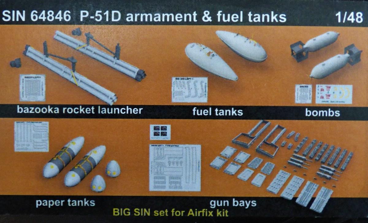 Eduard-SIN-64846-Mustang-Airfix-2 Eduard Bewaffnung und Tanks für die Airfix P-51 Mustang in 1:48 #SIN 64846