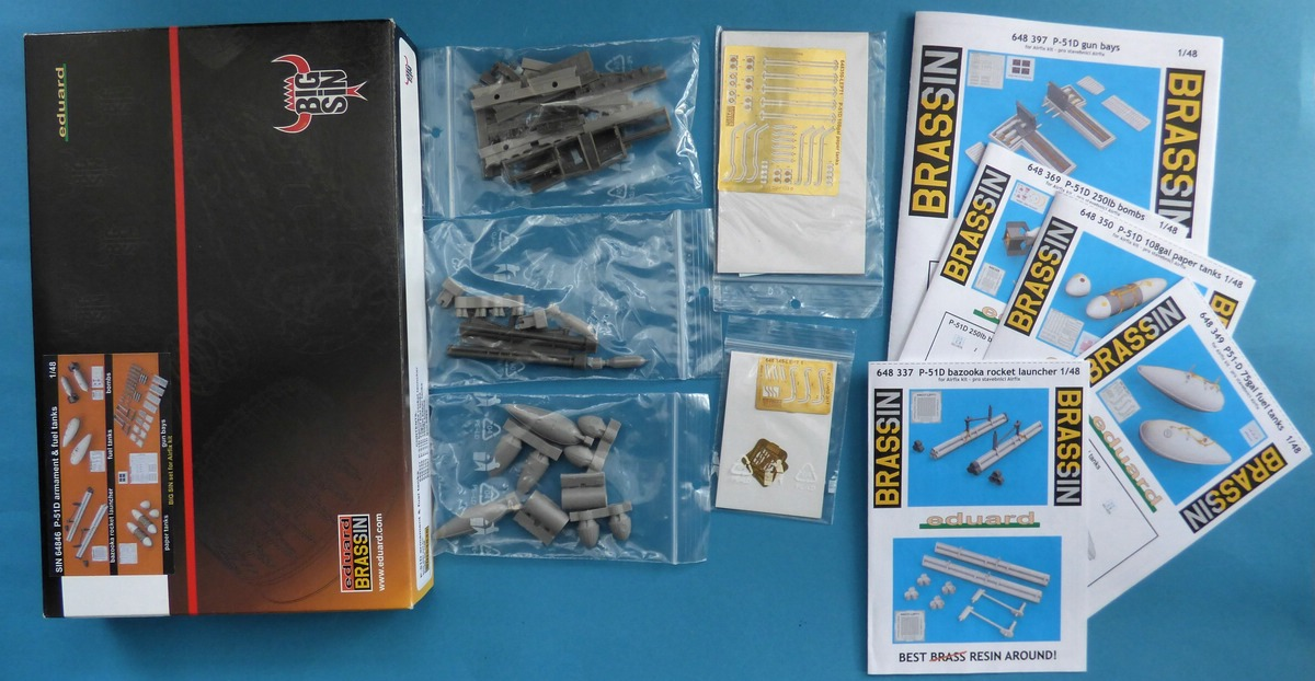 Eduard-SIN-64846-Mustang-Airfix-3 Eduard Bewaffnung und Tanks für die Airfix P-51 Mustang in 1:48 #SIN 64846
