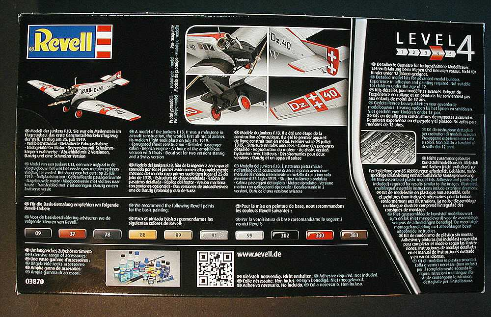 Revell-03870-Junkers-F-2 Junkers F 13 in 1:72 von Revell # 03870