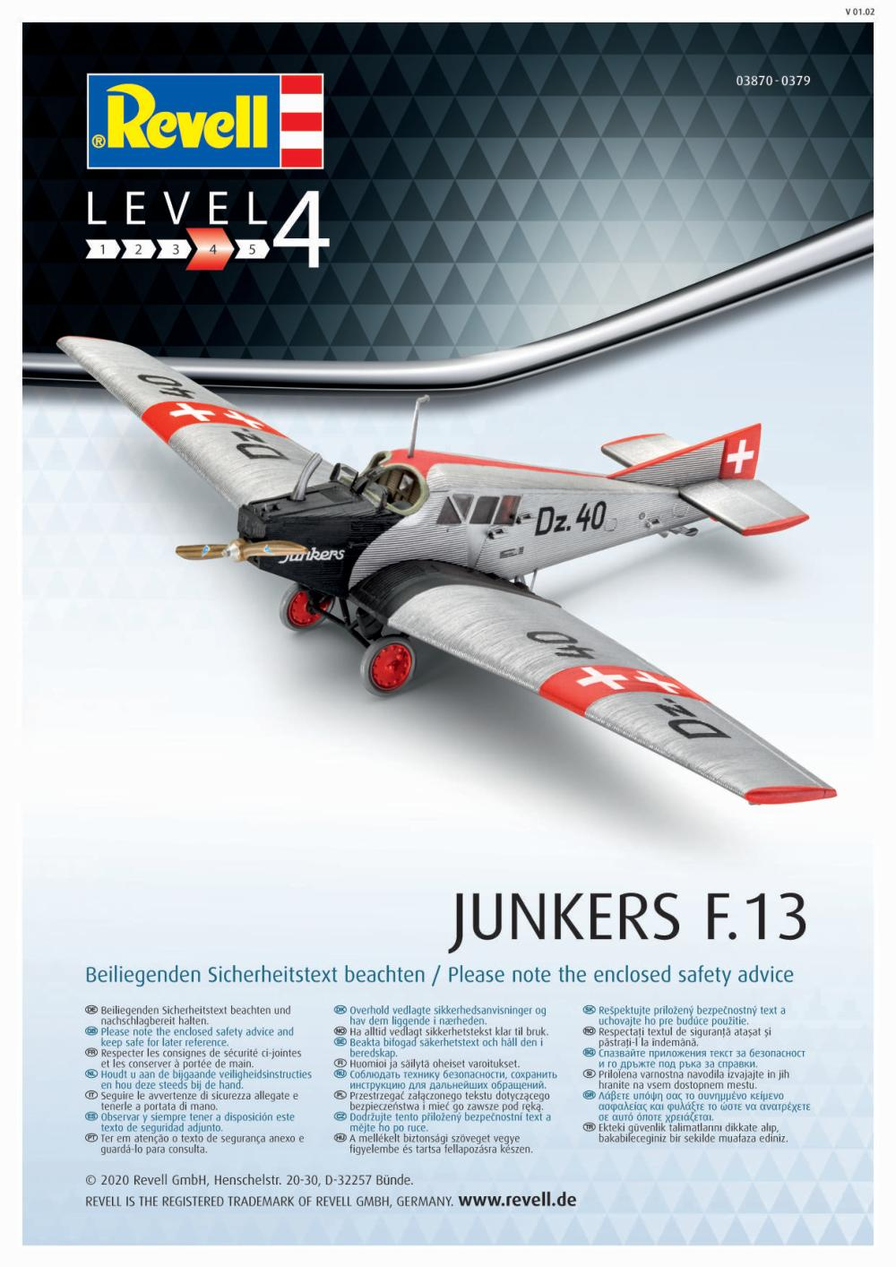 Revell-03870-Junkers-F.13-Bauanleitung1 Junkers F 13 in 1:72 von Revell # 03870