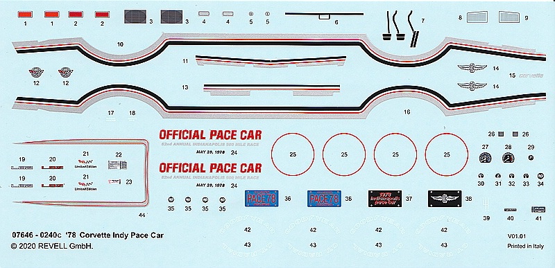 Revell-07646-CORVETTE-78-INDY-PACE-CAR-3 Corvette ´78 Indy Pace Car in 1:24 von Revell # 07646