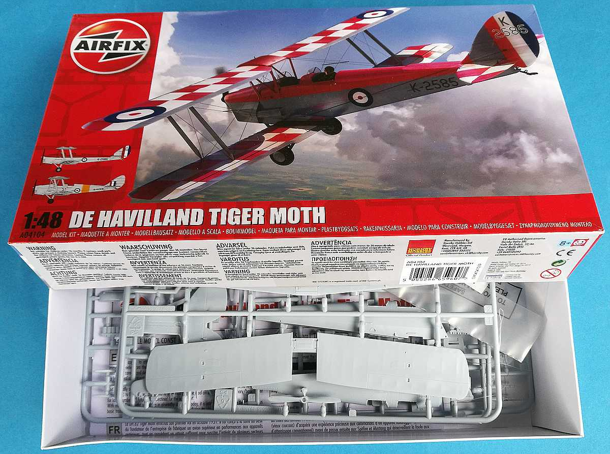 Airfix-A-04104-DeHavilland-Tiger-Moth-1zu48-24 DeHavilland DH 82 Tiger Moth in 1:48 von Airfix # A04104