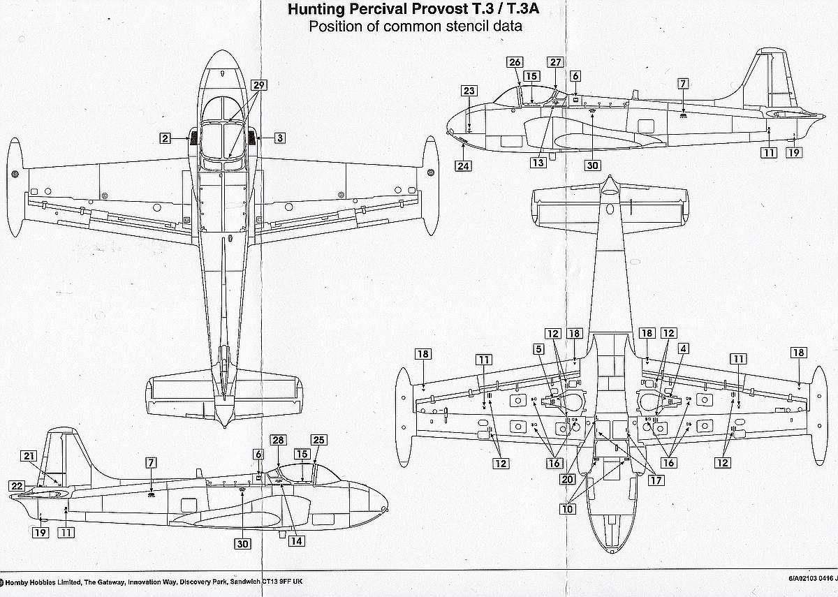 Airfix-A02103-Jet-Provost-T-Mk.-3-STencil Jet Provost T Mk. 3 in 1:72 von Airfix #A02103