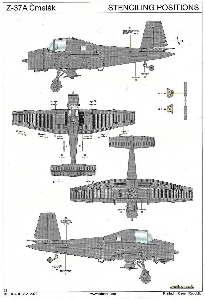 "Eduard-2131-Servus-Chlapci-Z-37A-Cmelak-Bauanleitung-28 Let Z-37A Cmelak ""Servus Chlapci"" in 1:72 von Eduard #2131"