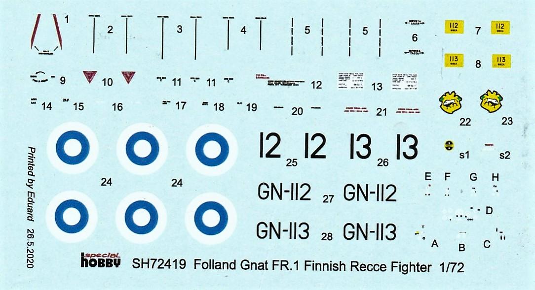 Special-Hobby-SH-72419-Folland-Gnat-FR.I-Finnish-Recce-DEcals Folland Gnat FR.1 Finnish Recce Fighter in 1:72 von Special Hobby #SH 72419