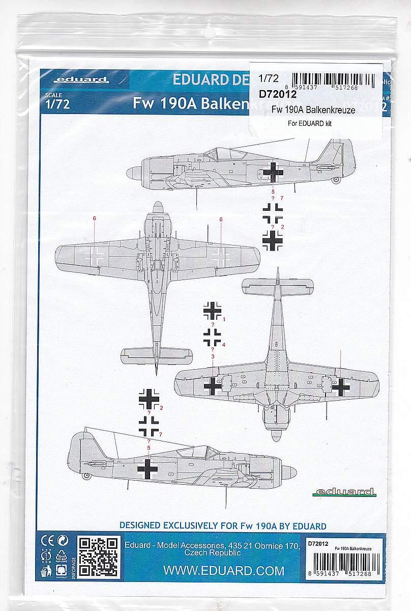Eduard-D-72012-FW-190A-Balkenkreuze-2 FW 190A Balkenkreuze in 1:72 von Eduard # D72012