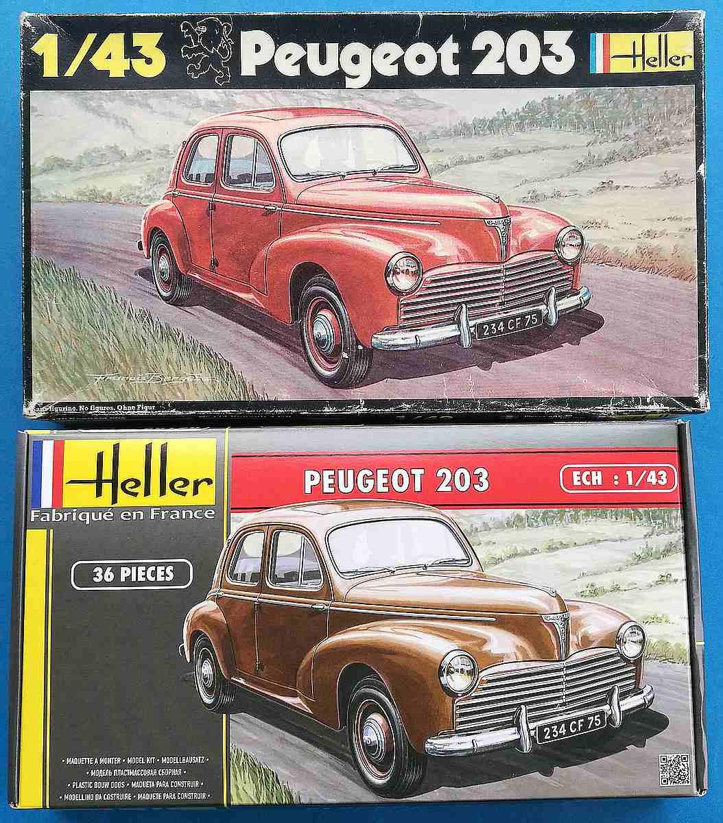 Heller-160-Peugeot-203-1zu43-2 Kit-Archäologie: Peugeot 203 in 1:43 von Heller #160