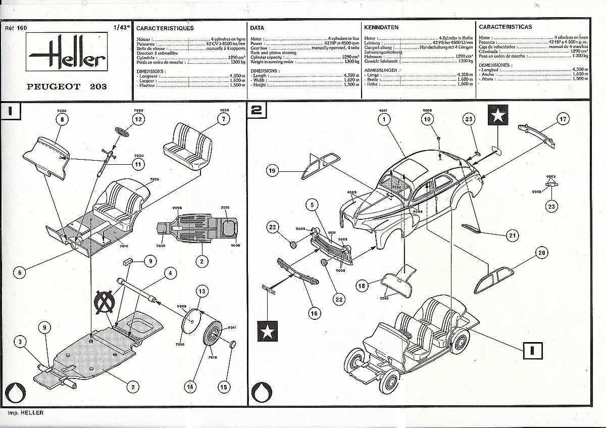 Heller-160-Peugeot-203-1zu43-27 Kit-Archäologie: Peugeot 203 in 1:43 von Heller #160