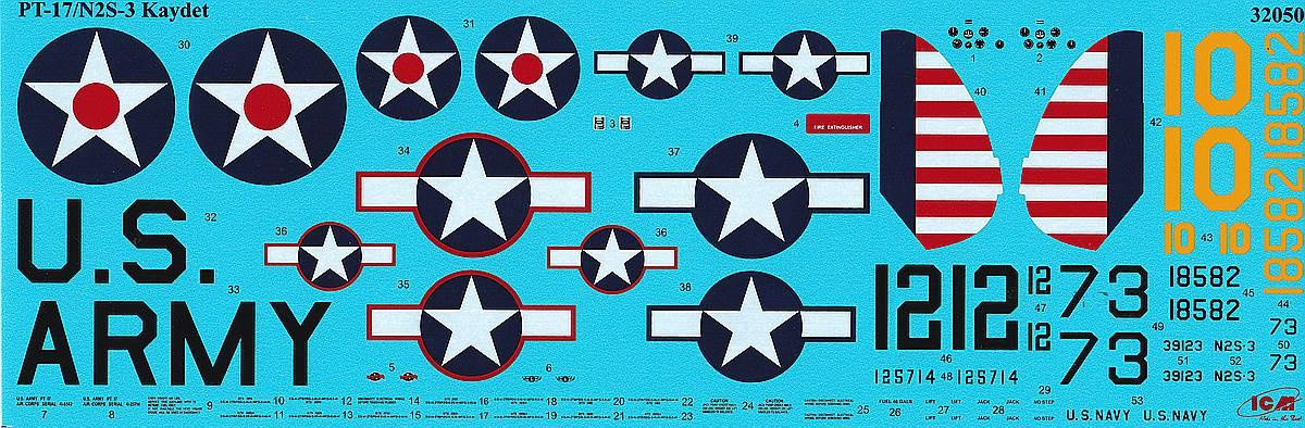 ICM-32050-Stearman-PT-17-Decals-2 Stearman PT-17 Kaydet in 1:32 von ICM #32050