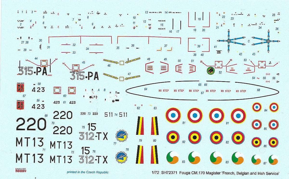 Special-Hobby-SH-72371-Fouga-CM-170-Magister-3-rotated Fouga Magister in French, Belgian and Irish Service in 1:72 von Special Hobby # 72371