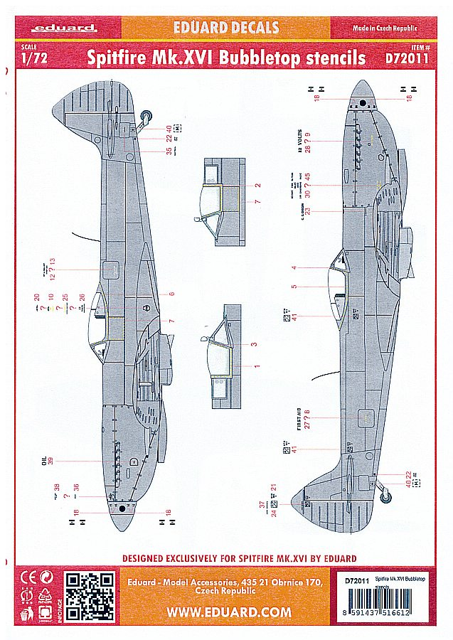 Eduard-D72011-Spitfire-Mk-XVIStencils-2 Detailsets für die 1:72er Spitfire Mk. XVI von Eduard