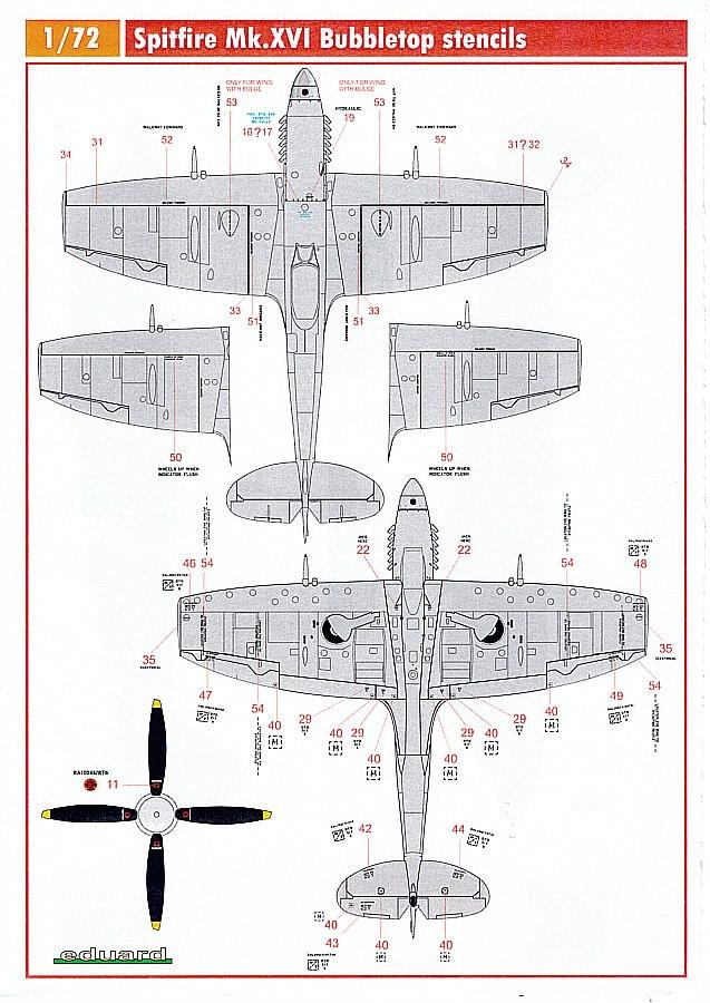 Eduard-D72011-Spitfire-Mk-XVIStencils-3 Detailsets für die 1:72er Spitfire Mk. XVI von Eduard