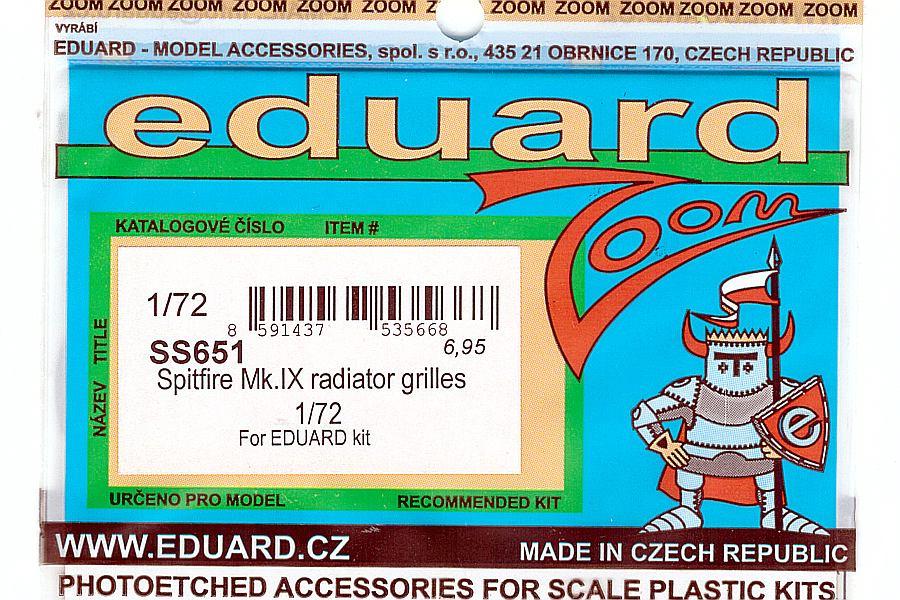 Eduard-SS-651-Spitfire-Mk-XVI-Radiator-Grilles-2 Detailsets für die Spitfire Mk. XVI in 1:72 von Eduard