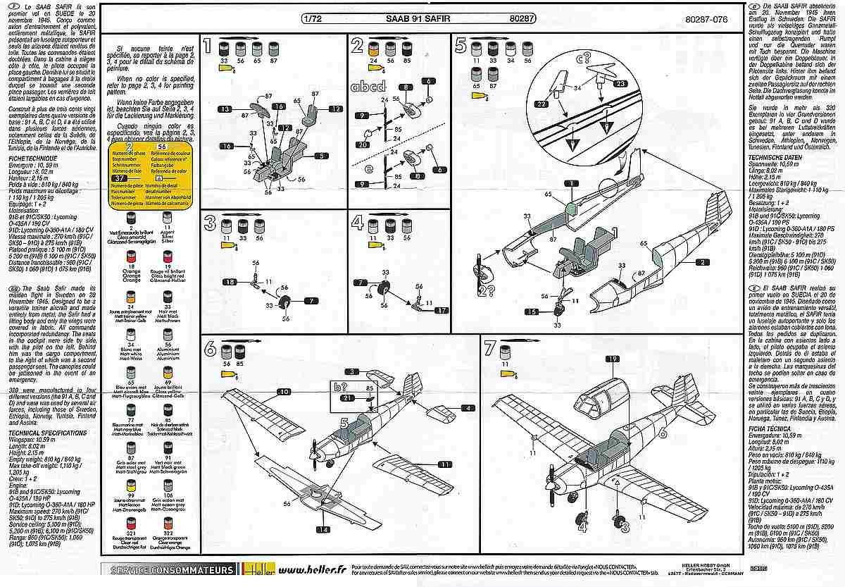 Heller-80287-SAAB-91-Safir-19 Saab 91 Safir in 1:72 von Heller # 80287