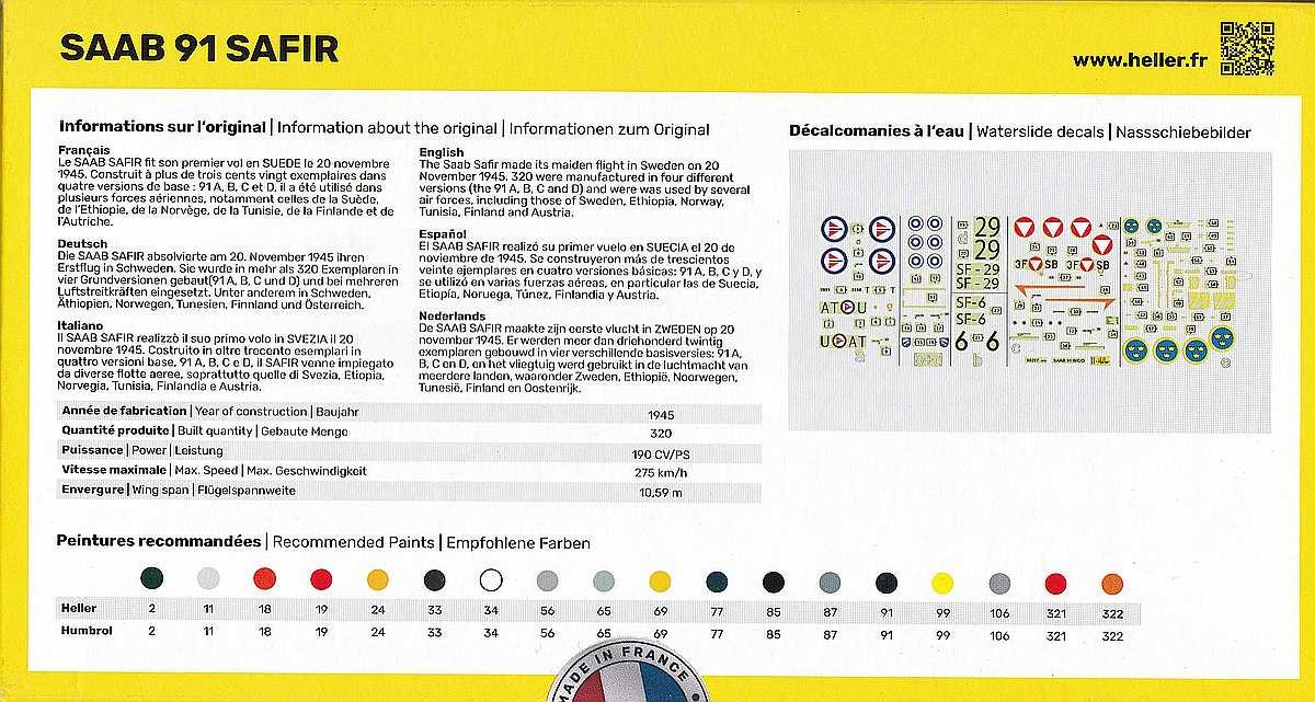 Heller-80287-SAAB-91-Safir-2 Saab 91 Safir in 1:72 von Heller # 80287