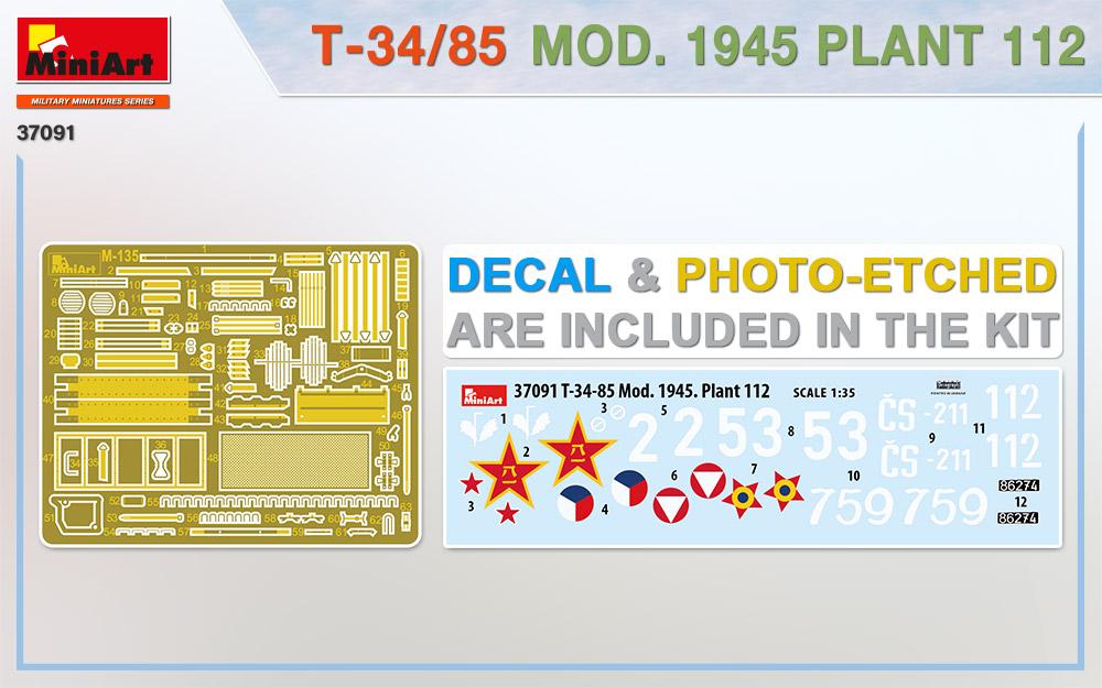 MiniArt-37091-T-34-85-1945-Fabrik-112-2 T-34/85 Modell 1945, Fabrik 112 in 1:35 von MiniArt