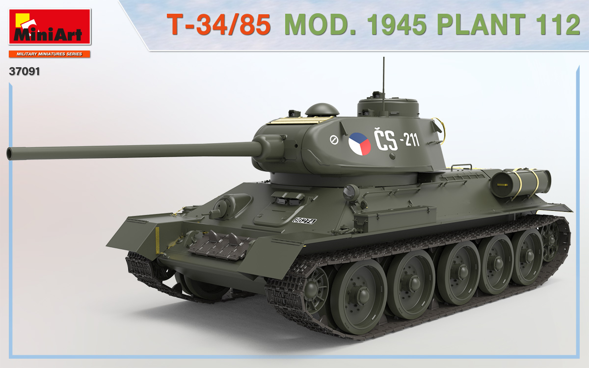 MiniArt-37091-T-34-85-1945-Fabrik-112-7 T-34/85 Modell 1945, Fabrik 112 in 1:35 von MiniArt