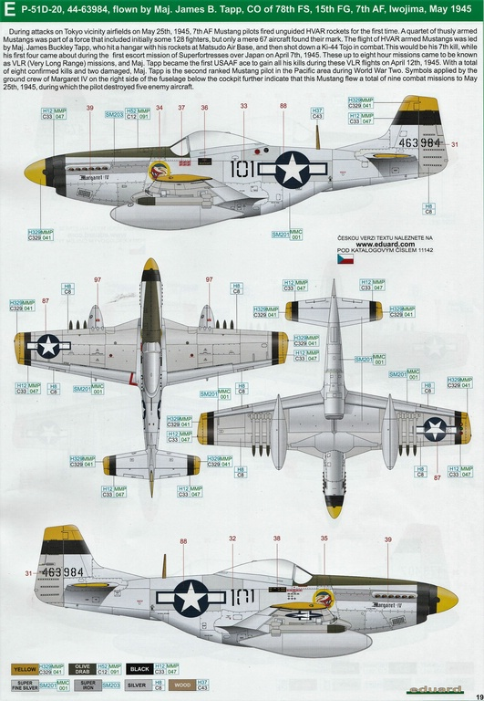 "Eduard-11142-P-51-Mustang-""Very-Long-Range-Tales-of-Iwojima-38 P-51 Mustang ""Very Long Range: Tales of Iwojima"" Limited Edition von Eduard in 1:48 #11142"