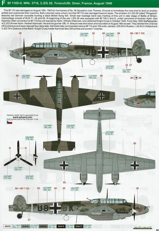 "Eduard-11145-Adlertag-Bf-110-85 ""Adlertag"" Limited Edition Bf-110 von Eduard in 1:48 #11145"